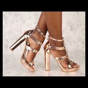 Rose Gold Pump Chunky Strappy